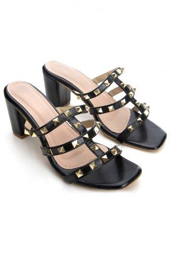 Women's Fashion Studded Block Heels2
