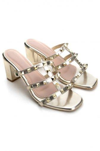Women's Fashion Studded Block Heels2
