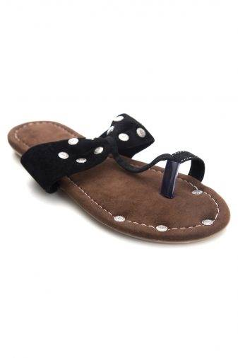 Black Suede Studded Flat Sandals1