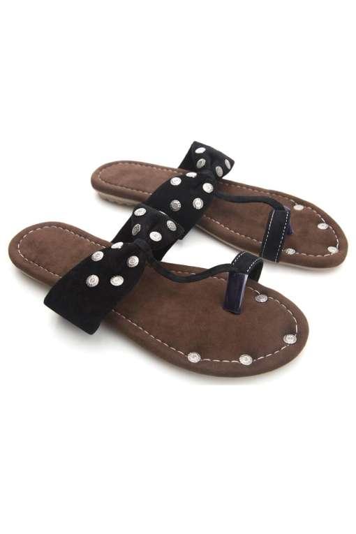 Black Suede Studded Flat Sandals2