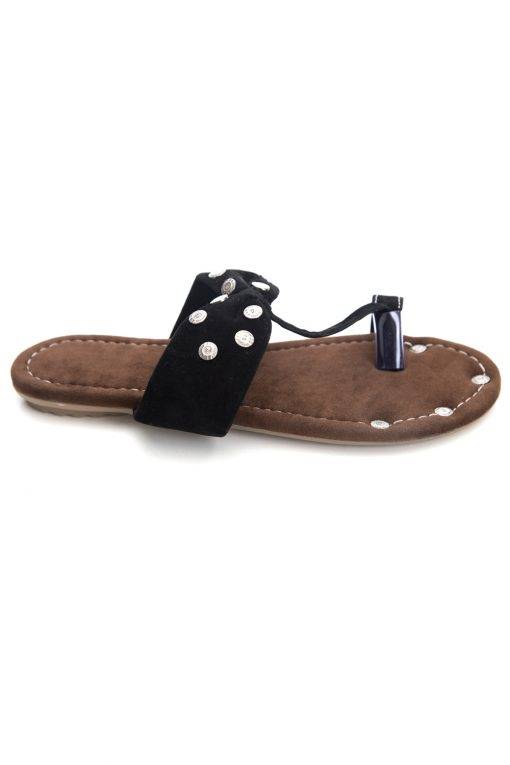 Black Suede Studded Flat Sandals3