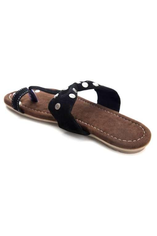 Black Suede Studded Flat Sandals4