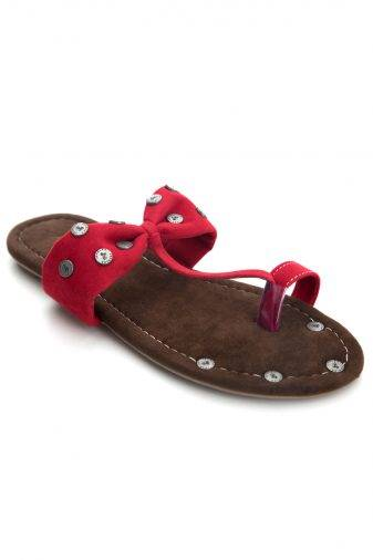 Red Suede Studded Flat Sandals1