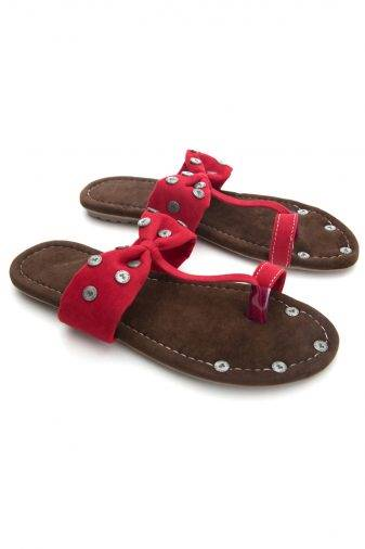 Red Suede Studded Flat Sandals2