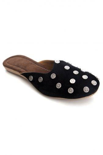 Black Suede Studded Flat Mules1