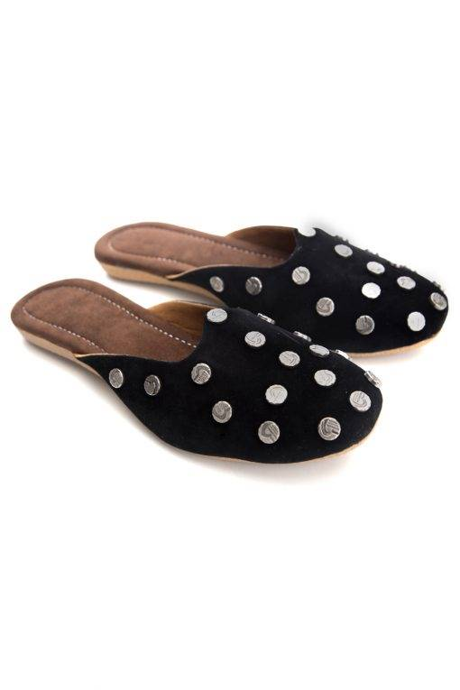Black Suede Studded Flat Mules2