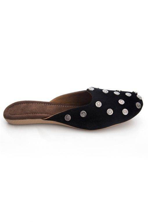 Black Suede Studded Flat Mules3