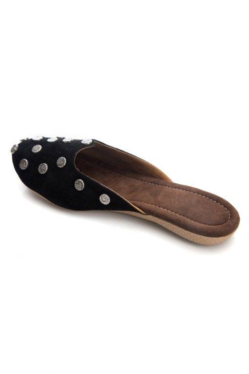 Black Suede Studded Flat Mules4