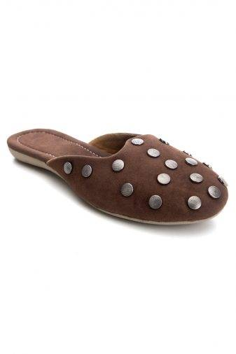 Brown Suede Studded Flat Mules1