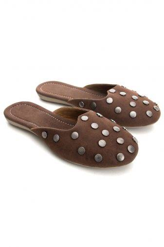 Brown Suede Studded Flat Mules12