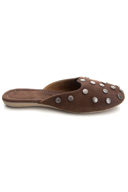 Brown Suede Studded Flat Mules13