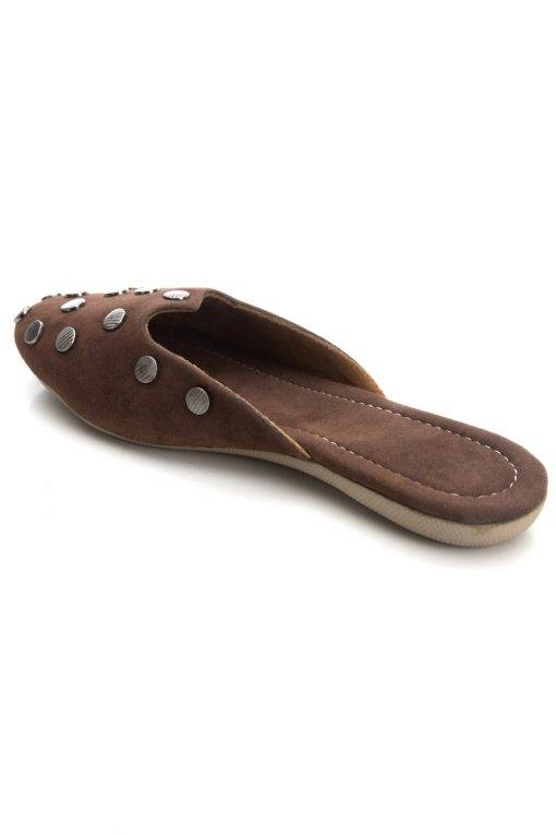 Brown Suede Studded Flat Mules14