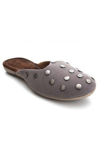 Grey Suede Studded Flat Mules1