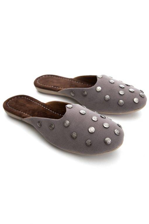 Grey Suede Studded Flat Mules12