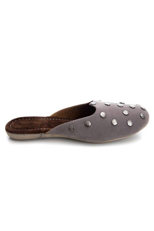 Grey Suede Studded Flat Mules13