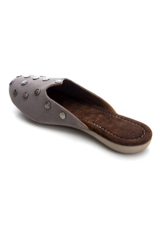 Grey Suede Studded Flat Mules14
