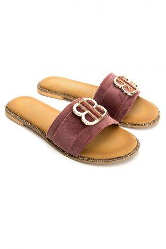 Buckle Detail Suede Flat Sandals