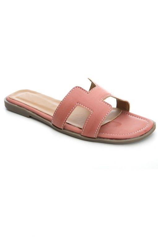 Pink H-Shape Detail Flat Sandals1