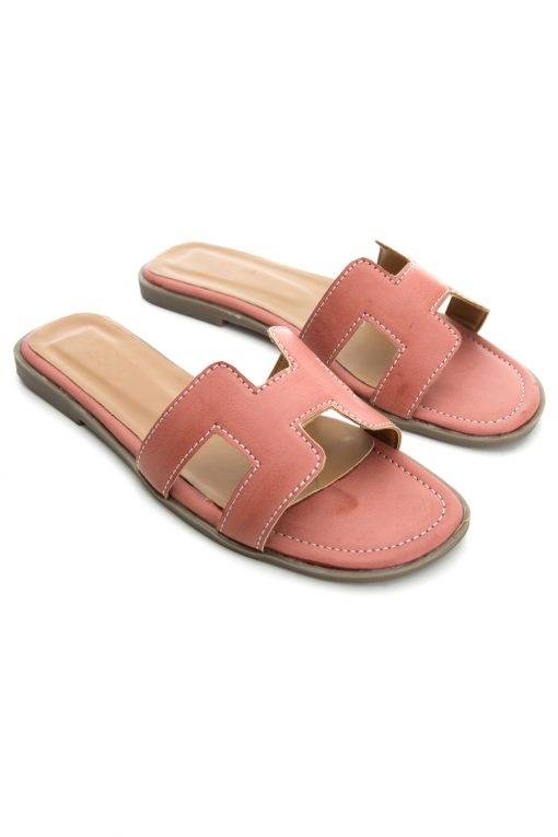 Pink H-Shape Detail Flat Sandals2