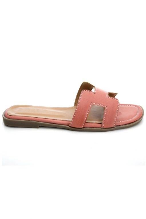 Pink H-Shape Detail Flat Sandals3