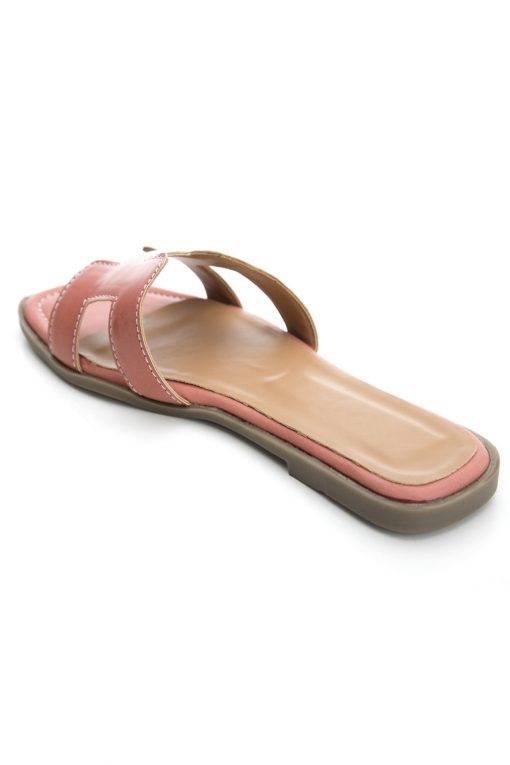 Pink H-Shape Detail Flat Sandals4