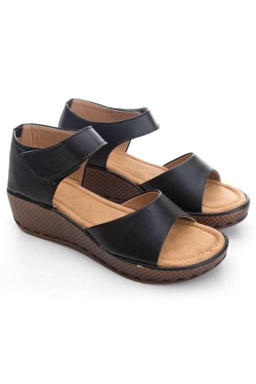 Black Flatform Strap Wedges Sandals2