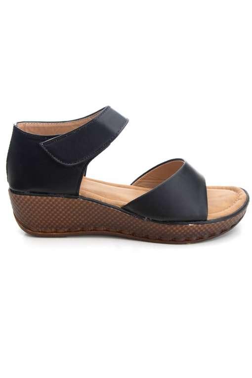 Black Flatform Strap Wedges Sandals