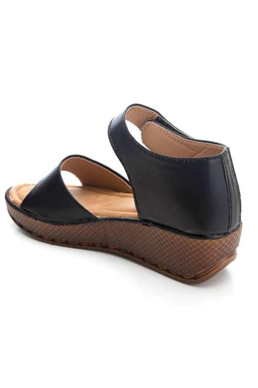 Black Flatform Strap Wedges Sandals4