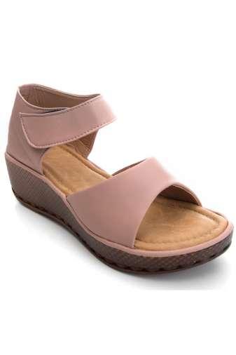 Pink Flatform Strap Wedges Sandals1