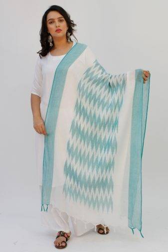 White-Green Ikkat Dupatta1