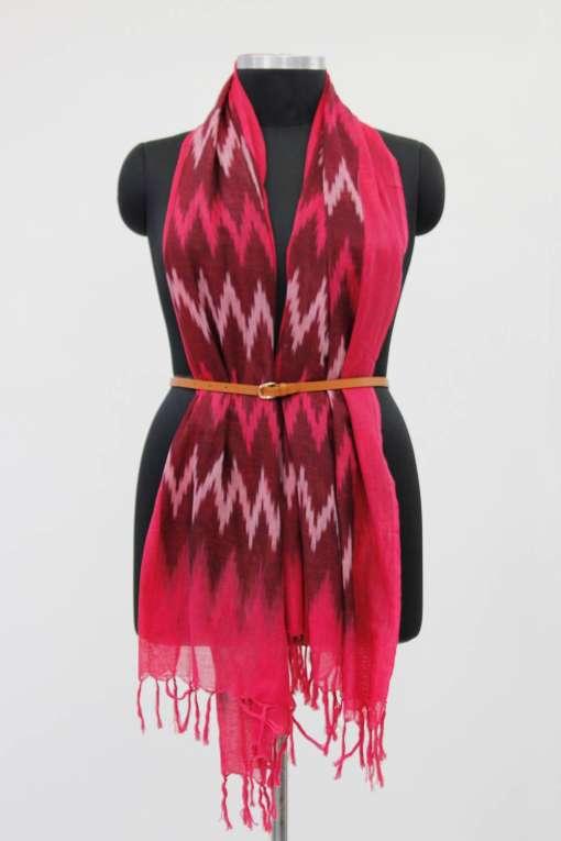 Dark Pink Ikkat Dupata3