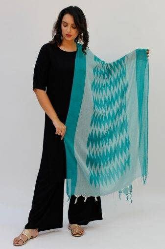 White- Dark Green Ikkat Dupatta1