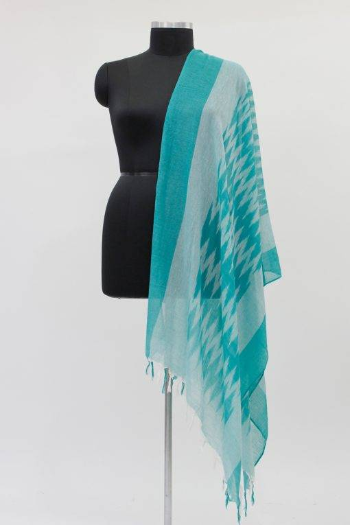 White- Dark Green Ikkat Dupatta3