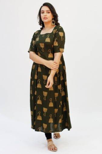 Green Foil Printed Anarkali 2