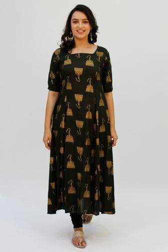 Green Foil Printed Anarkali 3