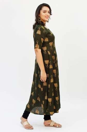 Green Foil Printed Anarkali 5