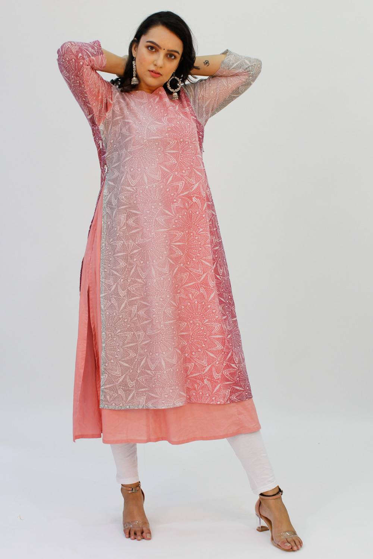Pink Double Layer Kurti1