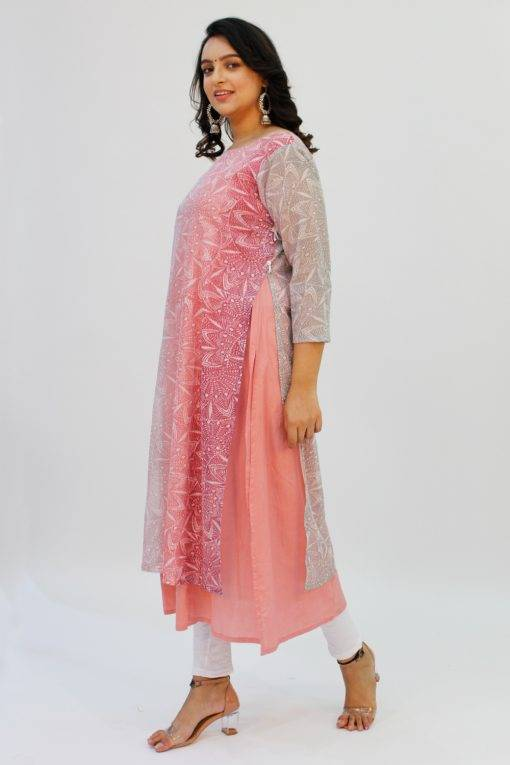 Pink Double Layer Kurti2