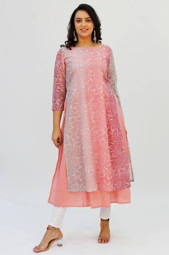 Pink Double Layer Kurti5