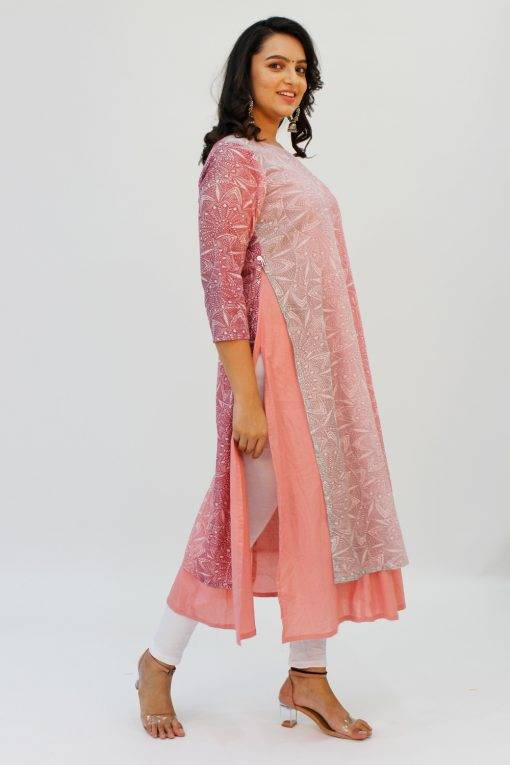 Pink Double Layer Kurti7