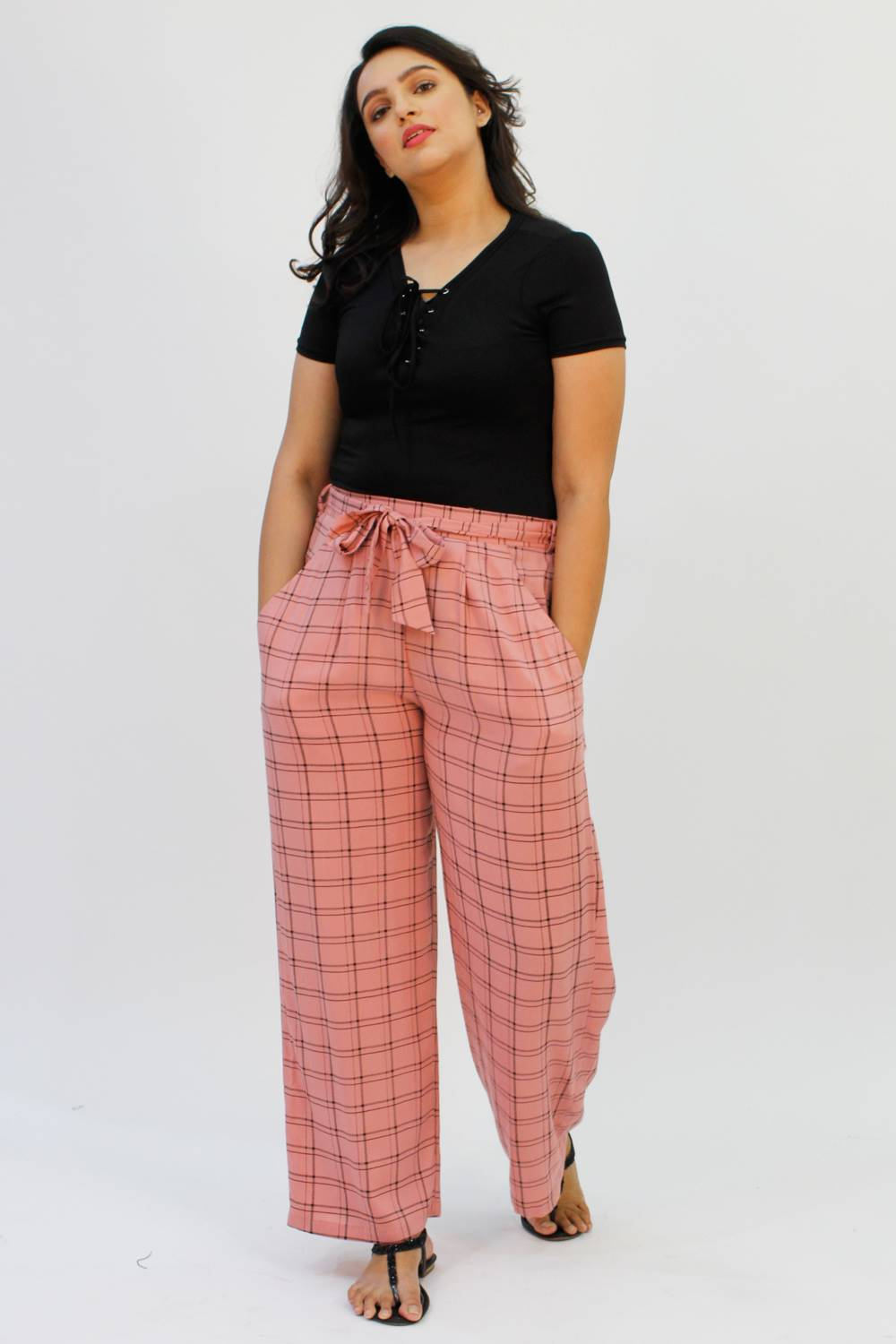 Pink Check Trouser1