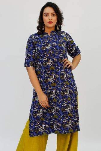 Blue Printed Kurta1