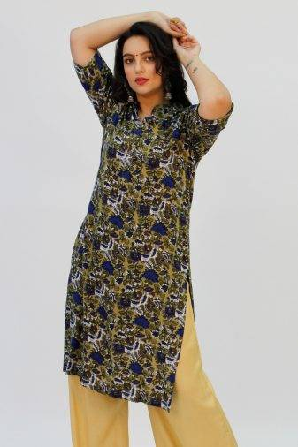 Green Printed Kurta1