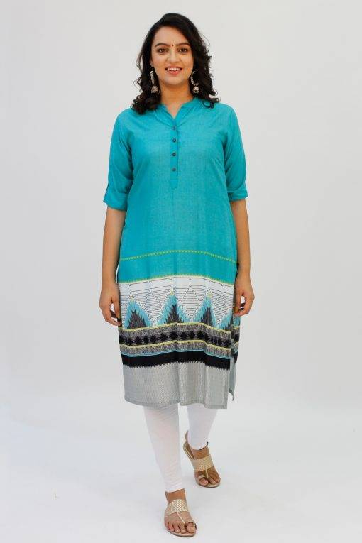 Turquoise Printed Kurta2