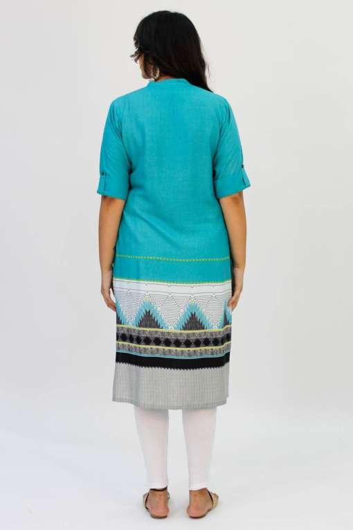 Turquoise Printed Kurta3