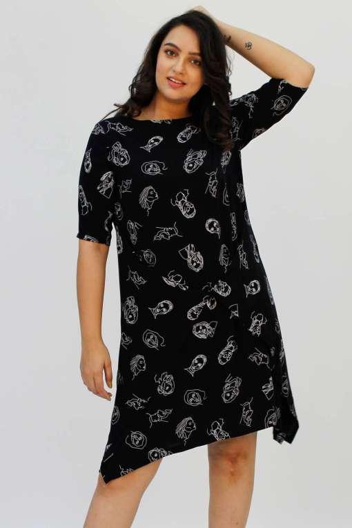 Black Printed Cowl Dress1