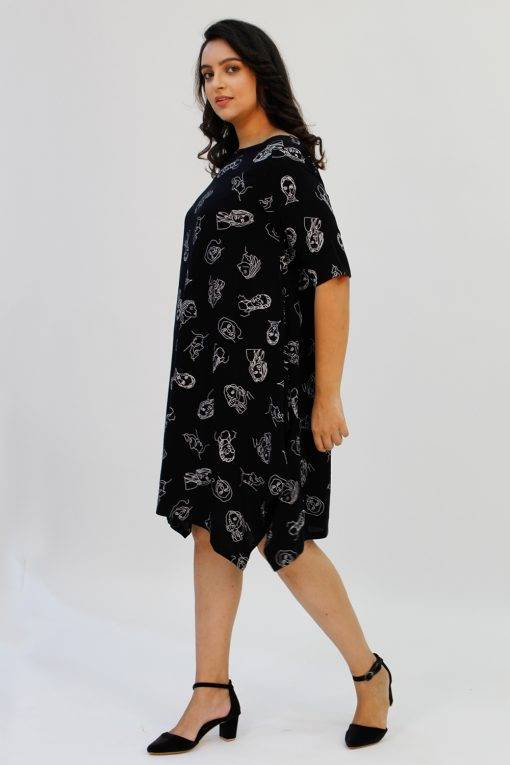 Black Printed Cowl Dress2