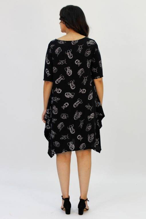 Black Printed Cowl Dress4