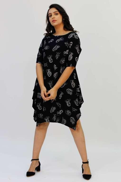 Black Printed Cowl Dress5