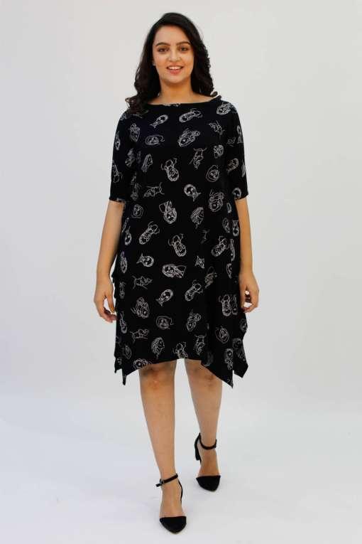 Black Printed Cowl Dress6